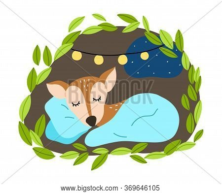 Fawn Sleeping Under Blanket In His Cosy Burrow Underground During Winter