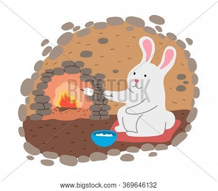 White Rabbit Grilling Marshmallows On Fire In His Cosy Burrow