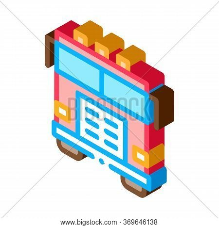 Fire Department Truck Icon Vector. Isometric Fire Department Truck Sign. Color Isolated Symbol Illus