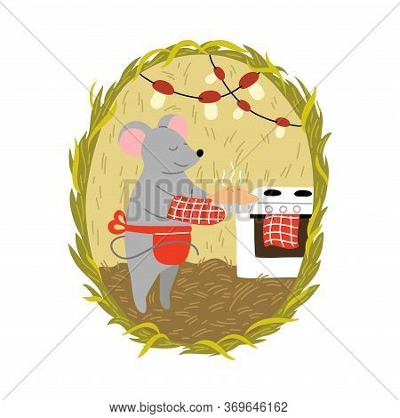 Grey Mouse In Apron Cooking Pie In Cosy Burrow With Mushroom Garlands