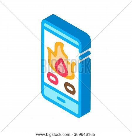 Phone Call Fire Dept Icon Vector. Isometric Phone Call Fire Dept Sign. Color Isolated Symbol Illustr