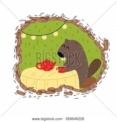 Grey Beaver With Big Teeth Sitting And Drinking Tea Alone In Cosy Burrow