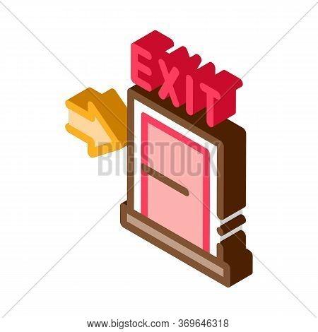 Fire-escape Exit Door Icon Vector. Isometric Fire-escape Exit Door Sign. Color Isolated Symbol Illus