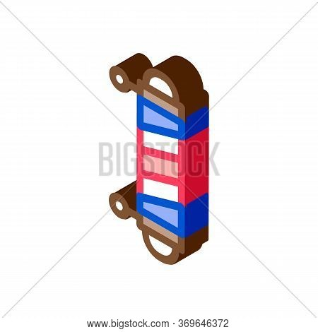 Barber Exterior Detail Icon Vector. Isometric Barber Exterior Detail Sign. Color Isolated Symbol Ill