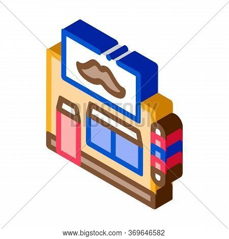 Barber Shop Building Icon Vector. Isometric Barber Shop Building Sign. Color Isolated Symbol Illustr
