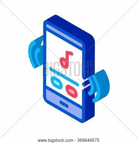 Phone Music Audio Player Icon Vector. Isometric Phone Music Audio Player Sign. Color Isolated Symbol