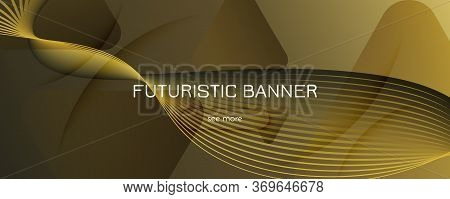 Abstract Vector Curve. Gold Gradient Landing Page. 3d Flow Shapes. Business Pattern. Yellow Abstract