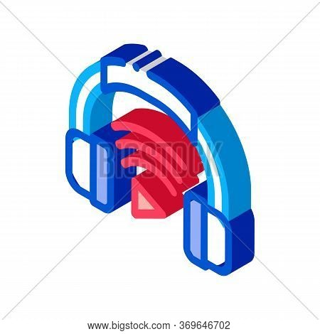 Headphones Host Device Icon Vector. Isometric Headphones Host Device Sign. Color Isolated Symbol Ill