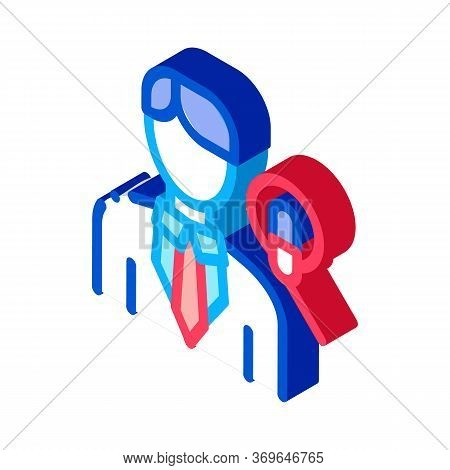 Man Host With Microphone Icon Vector. Isometric Man Host With Microphone Sign. Color Isolated Symbol