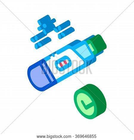 Positive Pregnancy Test Icon Vector. Isometric Positive Pregnancy Test Sign. Color Isolated Symbol I