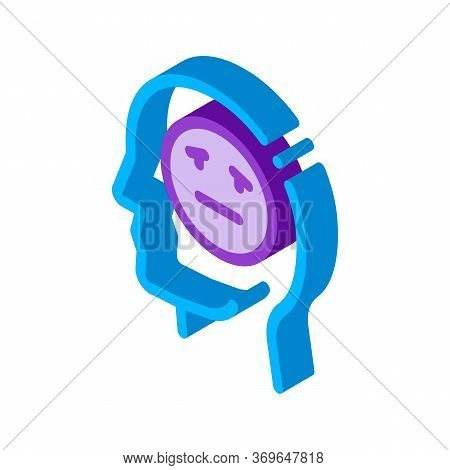 Man Melancholy Smiley Icon Vector. Isometric Man Melancholy Smiley Sign. Color Isolated Symbol Illus