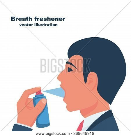 A Young Man Uses Breath Freshener. Open Mouth Portrait In Profile. Aerosol Spray In The Hand. Sprayi