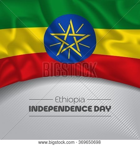 Ethiopia Happy Independence Day Greeting Card, Banner Vector Illustration