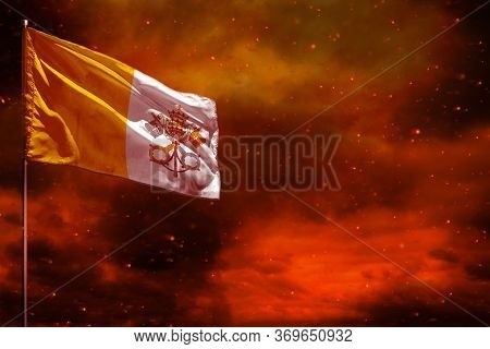 Fluttering Holy See Flag Mockup With Blank Space For Your Data On Crimson Red Sky With Smoke Pillars