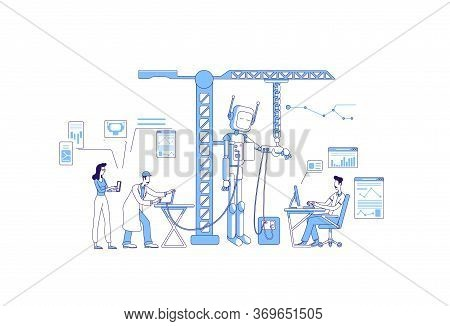 Engineering Thin Line Concept Vector Illustration. Male And Female Engineers Making Robot 2d Cartoon