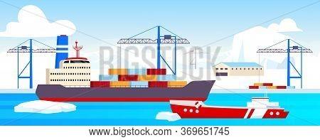 Polar Shipyard Flat Color Vector Illustration. Industrial Container Yard At North Pole 2d Cartoon La