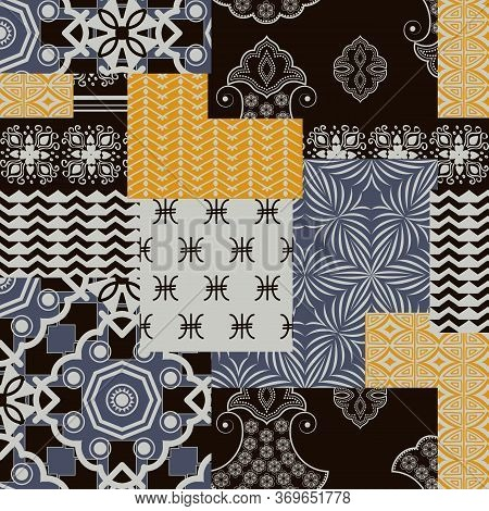 Bandanna Patchwork Fabric. Flap Fabric With Geometric Ornaments.
