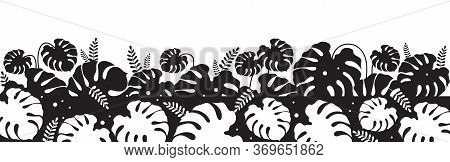 Tropical Foliage Black Silhouette Vector Illustration. Monstera Leaf. Philodendron Decoration. Wild