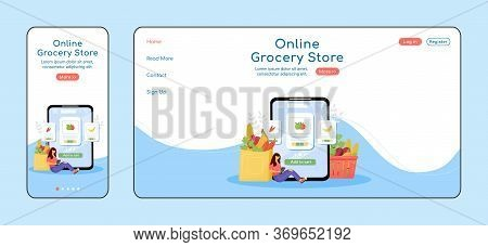 Online Grocery Store Adaptive Landing Page Flat Color Vector Template. Internet Order Mobile And Pc