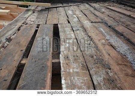 Rotten Roof Timbers, Wood Rafters, Ceiling Roof Joists Badly Needs Repairing, Removing And Replacing