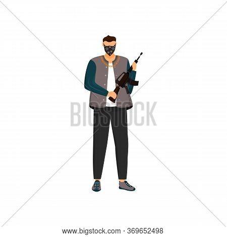Armed Criminal Flat Color Vector Faceless Character. Masked Bandit, Dangerous Terrorist With Assault
