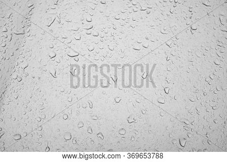Texture Of Water Drops On A Dirty Window, Raindrops On A Car Glass, Weather Precipitation Autumn Spr