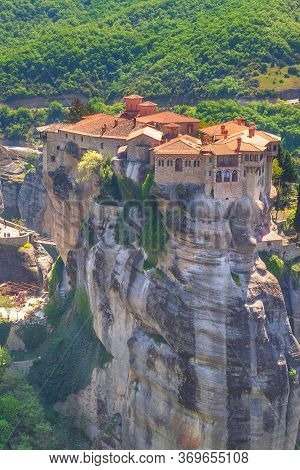 Orthodox Varlaam Monastery In Meteora, Greece On High Mountain Rock
