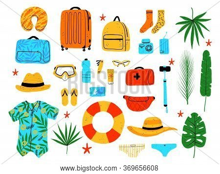 Set Of Elements For Travel And Beach Activities. Suitcases, Clothes, Bathing Accessories And Vacatio