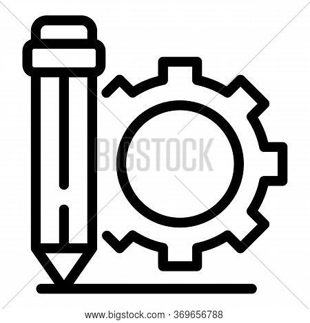 Pen Gear Wheel Icon. Outline Pen Gear Wheel Vector Icon For Web Design Isolated On White Background