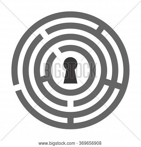 Keyhole Inside The Maze Icon Isolated On White Background. The Concept Of Solving Problems, Finding