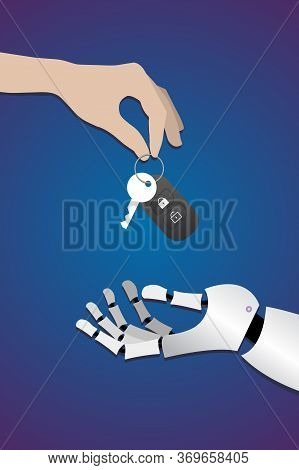 Human Hand Gives Car Keys To Robot Hands On Dark Blue Background. Concept Of Artificial Intelligence