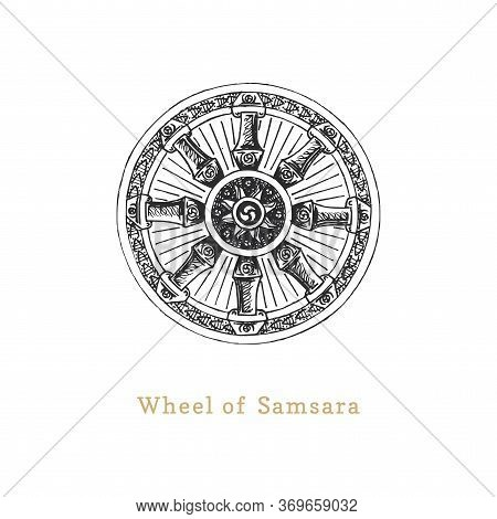Samsara, Wheel Of Life, Vector Illustration In Engraving Style. Vintage Pastiche Of Esoteric And Occ