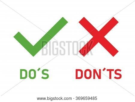 Do Two Badges And Dont Make Or Green And Red Badges With Positive And Negative Symbols On A White Ba