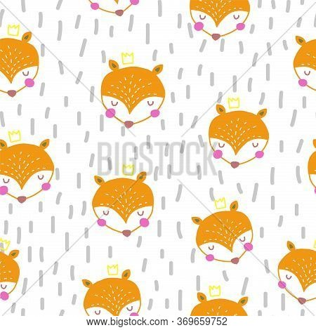 Seamless Pattern With Cute Orange Foxes And Hand Drawn Elements In Nordic Style. Scandinavian Style