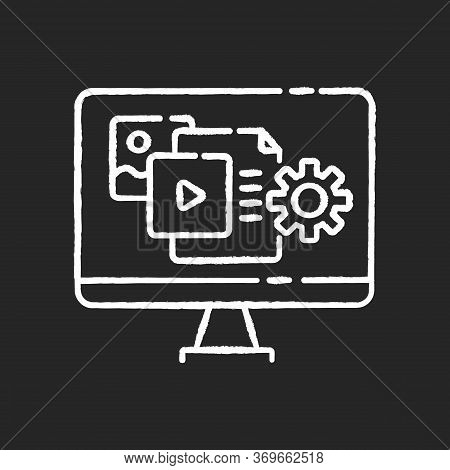 Content Manager Chalk White Icon On Black Background. Pr Strategy. Blogging To Promote Brand. Webpag