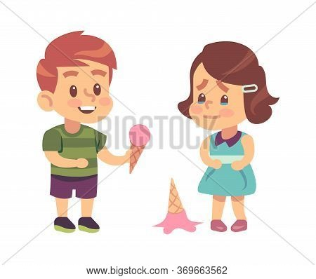 Polite Children. Cute Boy Treats Thankful Girl To Ice Cream Like Symbol Of Kids Good Manners Vector