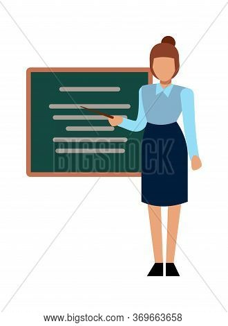 School Teacher. Woman Presenting Or Explaining In Front Of Graphic Board, Vector Cartoon Education L