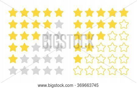 Five Star Rating. Modern Rated Quality Objects For Feedback Bar, Vector Review Flat Concept