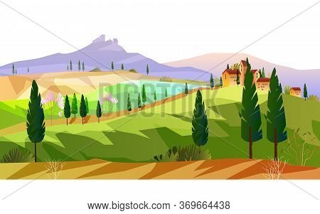 Horizontal Italian Landscape With Mountains, Hills, Vineyard, Cypress. European Rural View With Tree