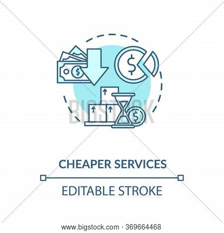 Cheaper Services Turquoise Concept Icon. Marketing Strategy. Trading Solution. Reduces Price For Pro