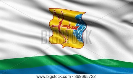 Flag of Kirov Oblast waving in the wind. 3D illustration.