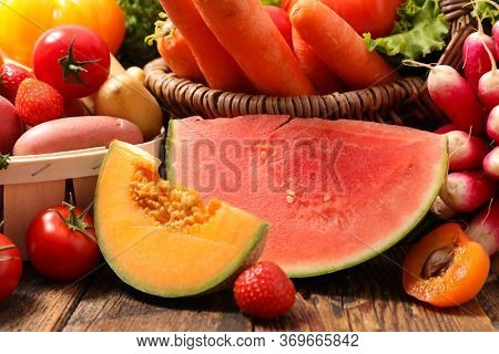 melon, watermelon, fruit and vegetable