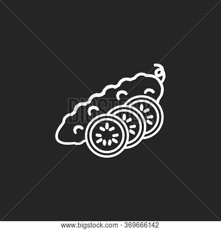 Cucumber Chalk White Icon On Black Background. Fresh Vegetable With Sliced Pieces. Whole Veggie With