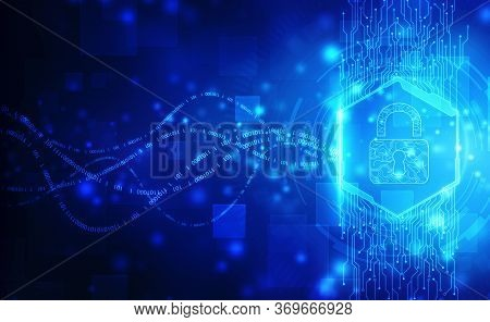 Closed Padlock On Digital Screen, Cyber Security Concept Background, Security Concept Background. Da