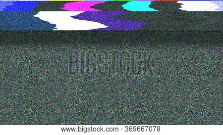 Glitch Noise Distortion Of Broken Video Image Background, Vhs Effect, Glitch Digital Color Pixel Noi