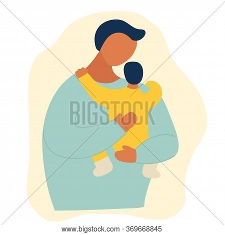 A Young Man Holds His Son S Child In His Arms. Hand Drawing Style Doodle. The Concept Of Fatherhood,