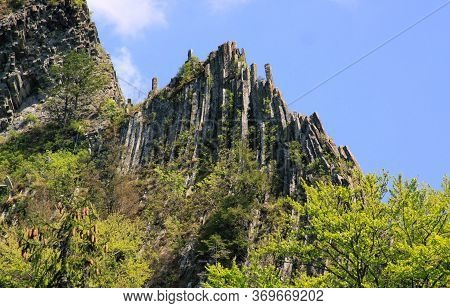 Basaltic Columns Emerging From Forest, At Detunata, In Transylvania, Romania