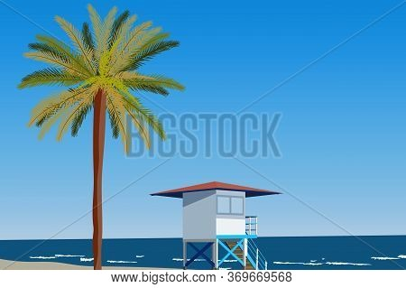 Peisage Of Seashore With Palms And Lifeguard Hut. Blue Clear Sky