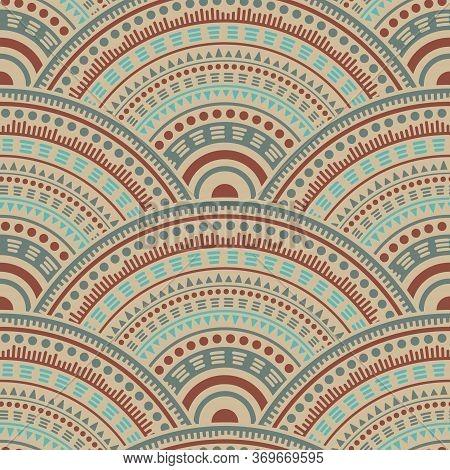 Moroccan Circle Elements Wallpaper Design Vector Seamless Pattern. Tribal Motifs Wavy Line Art Geome