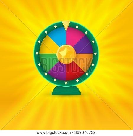 Vegas Casino Round Fortune Wheel Logo. Colorful Gambling Website Logotype. Online Risky Money Stakes